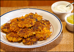 Sweet Potato and Pear Latkes - Click here for a high-resolution photo