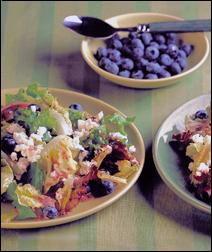 Green Salad with Feta and a bowl of blueberries