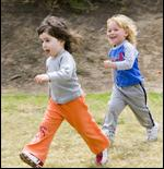 small girls running