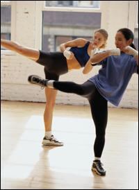 Two Women Kickboxing
