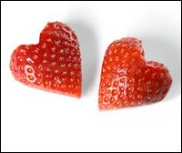 Two Heart-shaped Strawberries